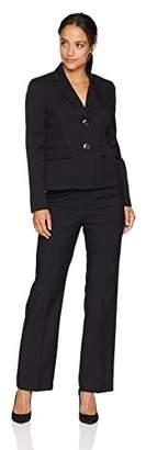 Le Suit Women's Petite Glazed Melange 2 BTN Notch Collar Pant Suit