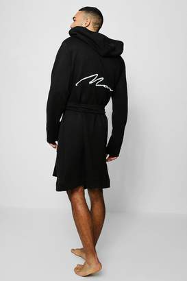6a5eee1119 boohoo Jersey Fleece Hooded Robe With MAN Embroidery