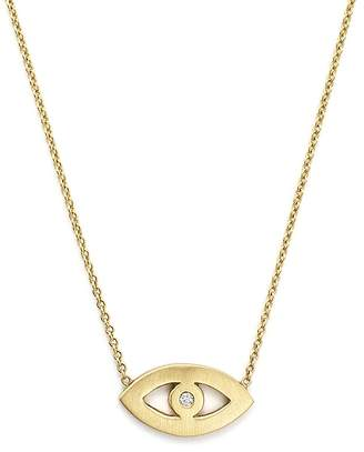 Chicco Zoë 14K Yellow Gold Evil Eye Diamond Necklace, 16""