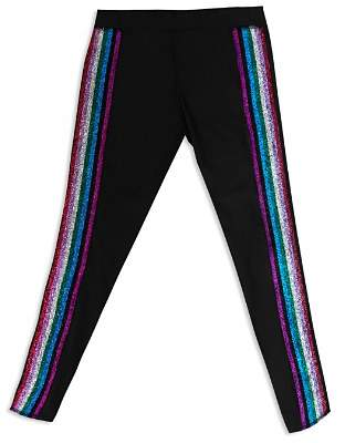 Terez Girls' Metallic Rainbow Stripe Leggings - Big Kid