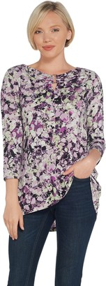 Belle By Kim Gravel Belle by Kim Gravel Abstract Leaves Hi-Low Knit w/ Neck Trim