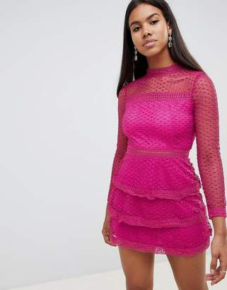 AX Paris long sleeve crochet lace mini dress with tiered skirt