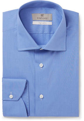 Canali Blue End-on-End Cotton Shirt - Blue