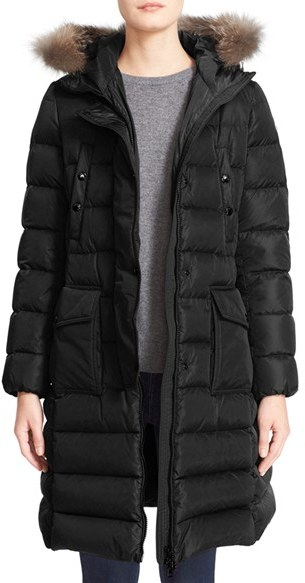 Moncler Women's Moncler 'Khloe' Water Resistant Nylon Down Puffer Parka With Removable Genuine Fox Fur Trim