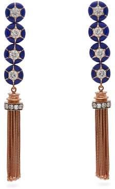 Selim Mouzannar Sea Flowers Diamond & 18kt Rose Gold Earrings - Womens - Blue