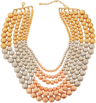 Lydell NYC Tri-Tone Multi-Row Beaded Necklace