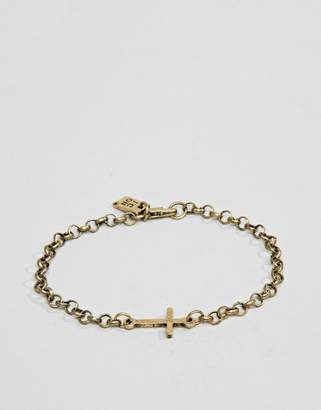 ICON BRAND gold chain bracelet with cross