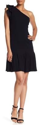Rebecca Taylor One-Shoulder Ribbed Ruffle Dress