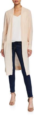 Donna Karan Open-Front Long Linen Cardigan