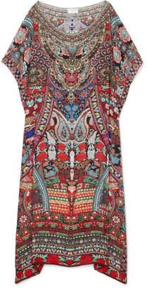 Camilla Embellished Printed Silk Crepe De Chine Kaftan - Red