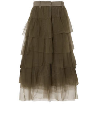 Brunello Cucinelli Tiered Satin-trimmed Tulle Midi Skirt - Green