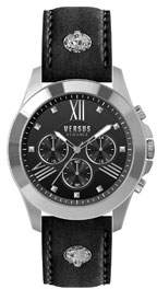Versace Men's 44mm Chronograph Watch w/ Leather Strap, Black