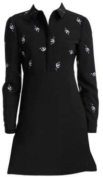 Maje Embroidered Collared A-Line Mini Dress