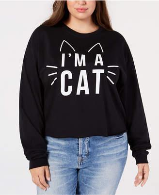 Mad Engine Plus Size Cotton Cat Long-Sleeve T-Shirt