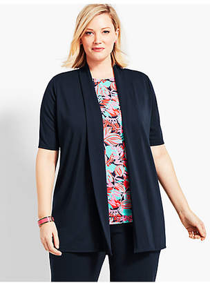 Talbots Plus Size Exclusive Elbow-Sleeve Flyaway Knit Jersey Cardigan