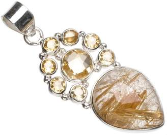 "StarGems(tm) Natural Rutilated Quartz and Citrine Handmade Indian 925 Sterling Silver Pendant 2"" T1107"