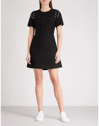 Sandro Lace-up detail woven dress