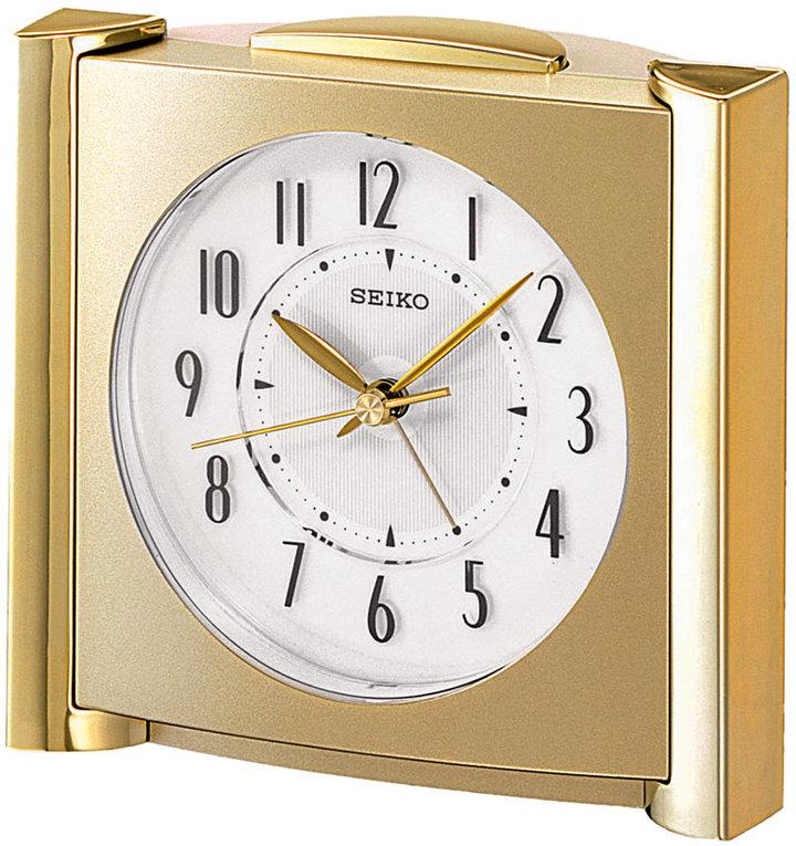 Seiko Gold-Tone Mixed Metal Clock, Bedside Alarm