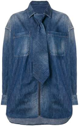Diesel Red Tag detachable tie denim shirt