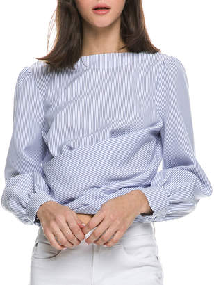 ENGLISH FACTORY Striped Low-Back Long-Sleeve Cotton Top