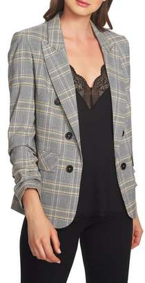1 STATE 1.STATE Menswear Plaid Ruched Sleeve Blazer