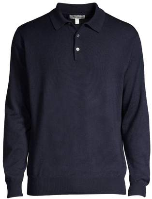 Peter Millar Honeycomb Wool Silk Long-Sleeve Polo