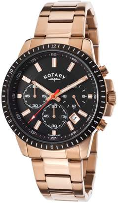 Rotary Gb00174-04 Men's Chrono Rose-Tone Stainless Steel Black Dial Watch