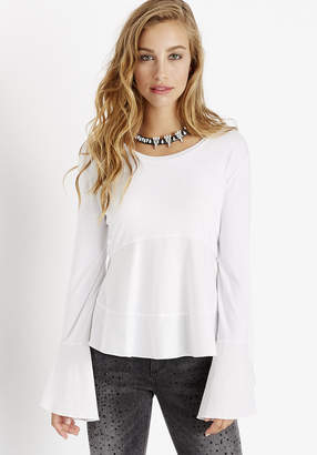 Buffalo David Bitton BELL SLEEVE POPLIN PEPLUM TOP