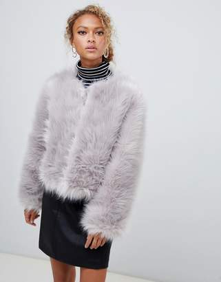 New Look Fluffy Faux Fur Collarless Jacket