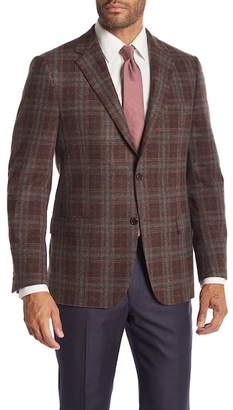 Hickey Freeman Brown Plaid Two Button Notch Lapel Wool Classic Fit Blazer