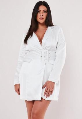 Missguided Plus Size White Satin Belted Blazer Dress