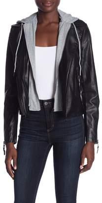 John & Jenn Faux Leather Moto Hooded Jacket