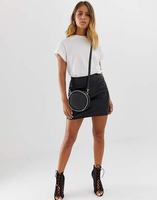 Asos Design DESIGN sculpt me leather look mini skirt