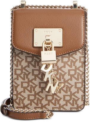 DKNY Elissa Leather Chain Strap Signature Crossbody