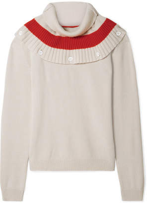 Tomas Maier Convertible Striped Cashmere Sweater - Cream