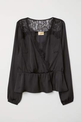 H&M V-neck Satin Blouse - Black