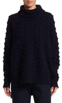 Lela Rose Resort Wool& Cashmere Dotted Turtleneck Sweater