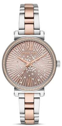 Michael Kors Mini Sofie Rose Gold-Tone Crystal-Embellished Dial Watch, 36mm