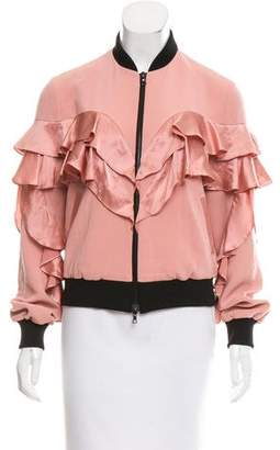 Cinq à Sept Ruffled Satin Bomber