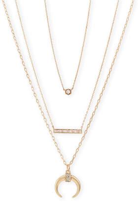 Loren Olivia 3-Piece 14K Gold-Plated Crescent Necklace