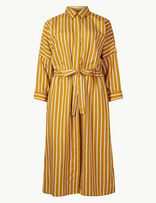 Marks and Spencer Striped 3/4 Sleeve Shirt Dress
