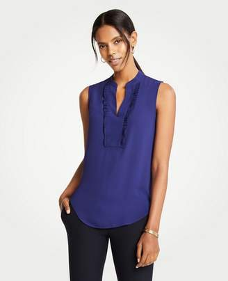 Ann Taylor Pleated Ruffle Placket Shell