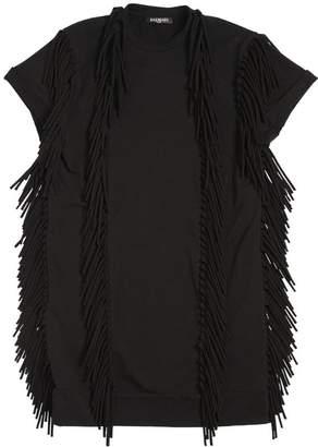 Balmain Fringed Cotton Blend Jersey Dress