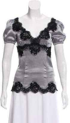 Dolce & Gabbana Lace-Trimmed Silk Top