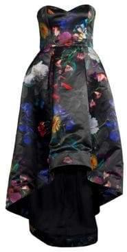 Parker Black Roxanne Satin Floral Strapless Gown