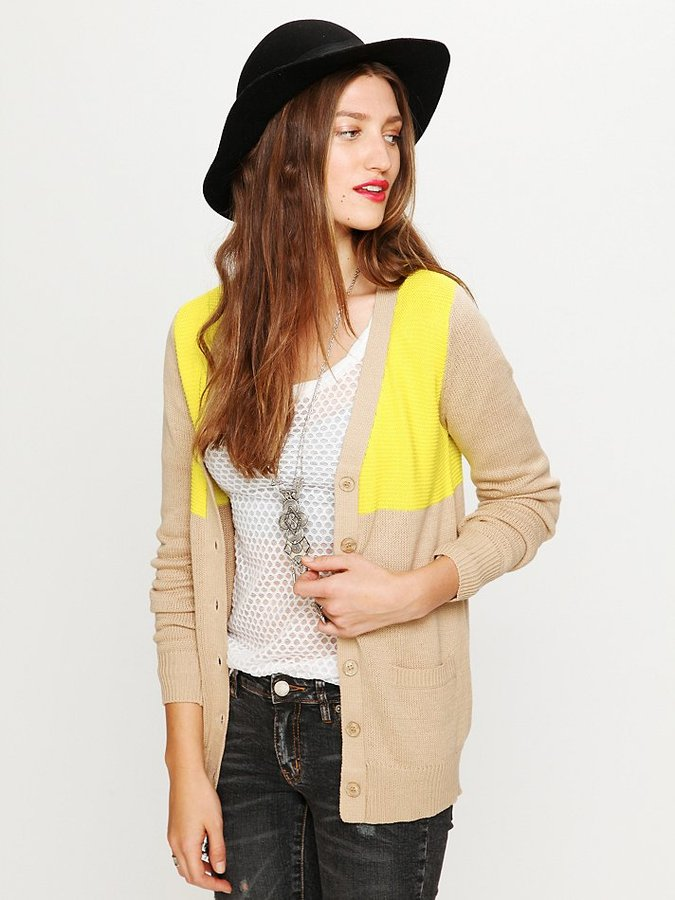 Long Colorblock Cardigan