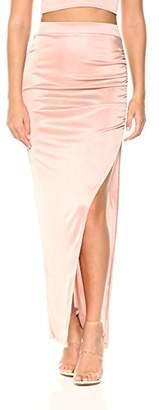 Velvet Rope Women's Satin Knit Side Slit Ruched Maxi Skirt