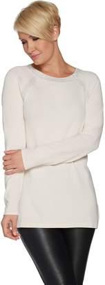 Susan Graver Rayon Nylon Raglan Sleeve Embellished Sweater