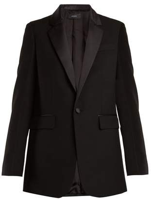Joseph Jan Single Breasted Contrast Trim Wool Blazer - Womens - Black