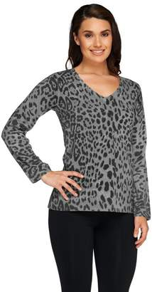 Susan Graver Printed Plush Knit Long Sleeve V-Neck Sweater